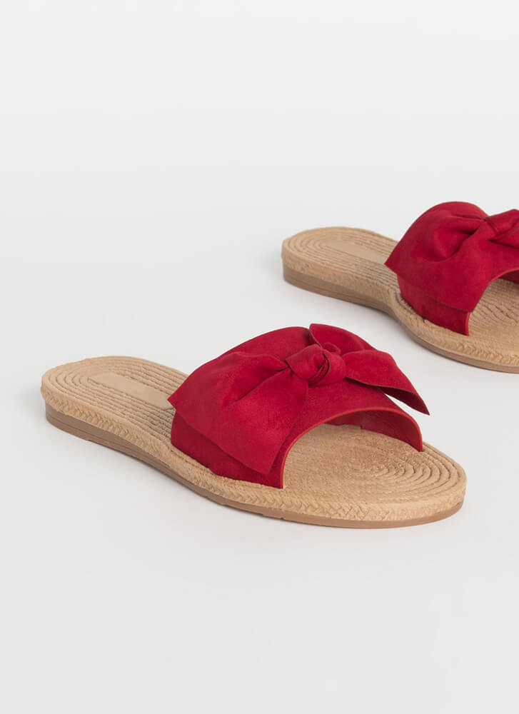 Bow-So-Cute Faux Braided Slide Sandals RED (You Saved $9)
