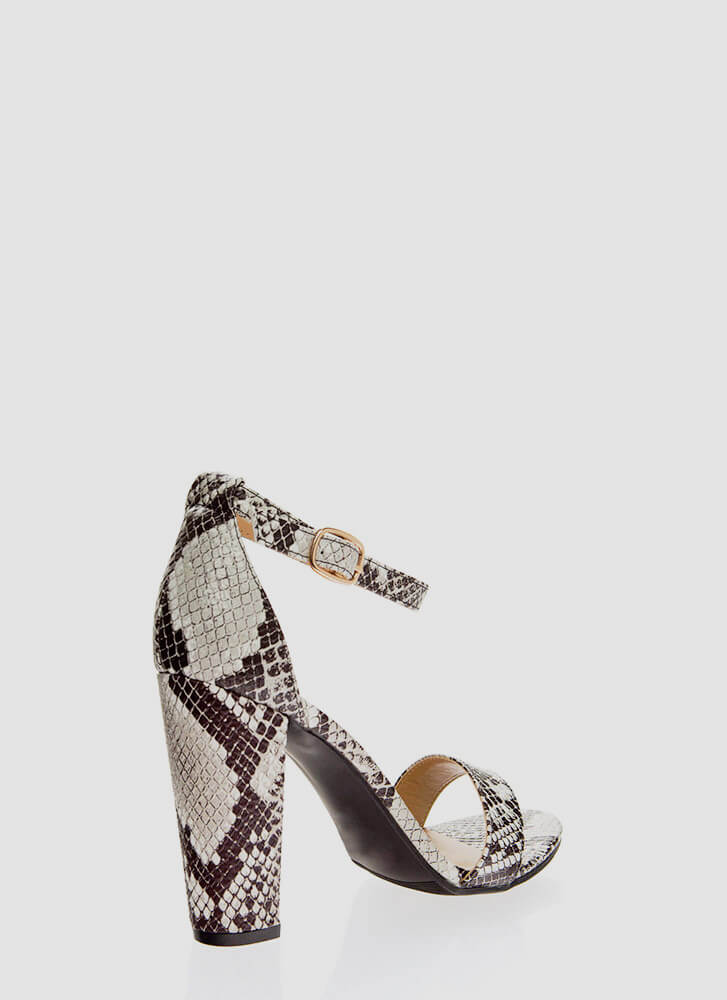 Snake In The Grass Chunky Strappy Heels BLACK