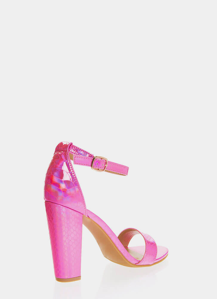 Snake In The Grass Chunky Strappy Heels HOTPINK