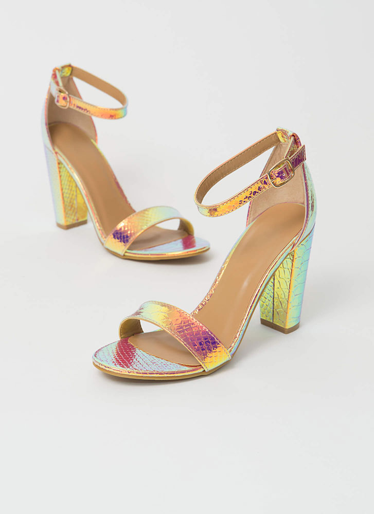 Snake In The Grass Chunky Strappy Heels IRIDESCENT