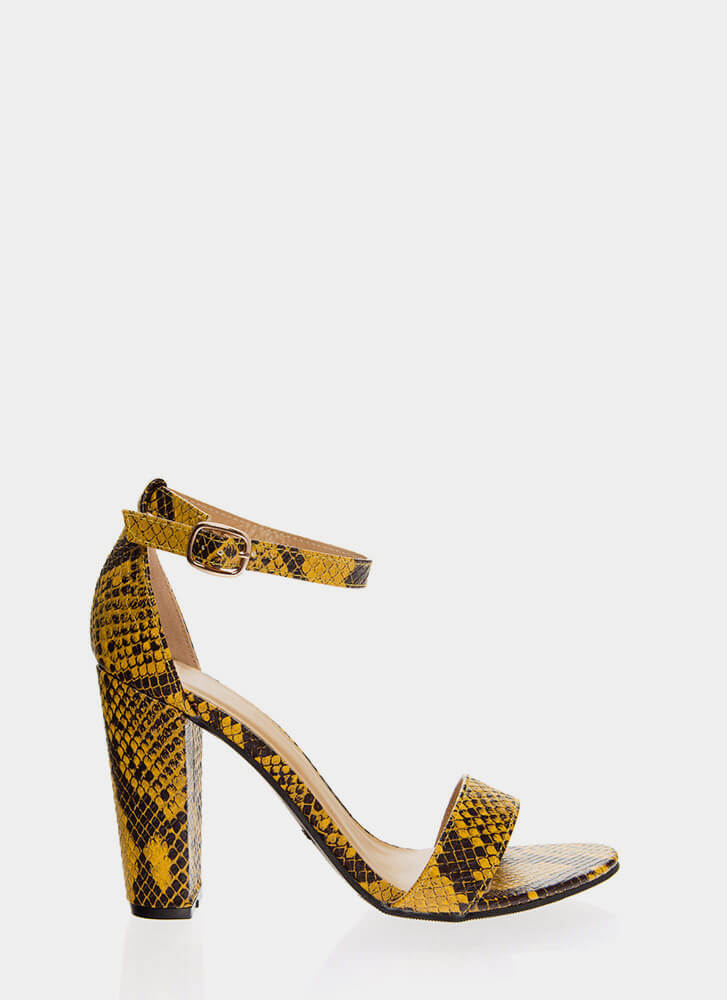 Snake In The Grass Chunky Strappy Heels MARIGOLD