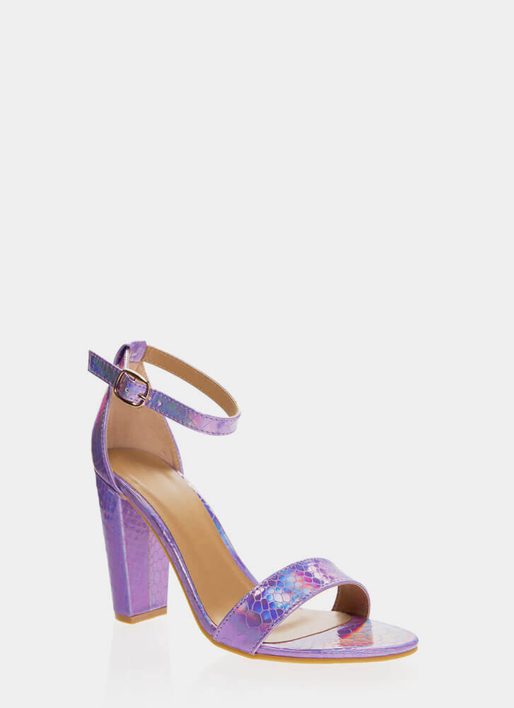Snake In The Grass Chunky Strappy Heels PURPLE
