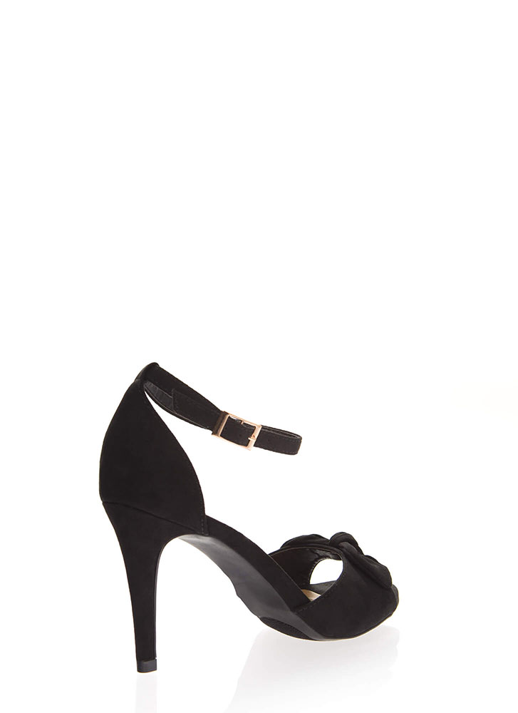 Bow And Behold Ankle Strap Heels BLACK