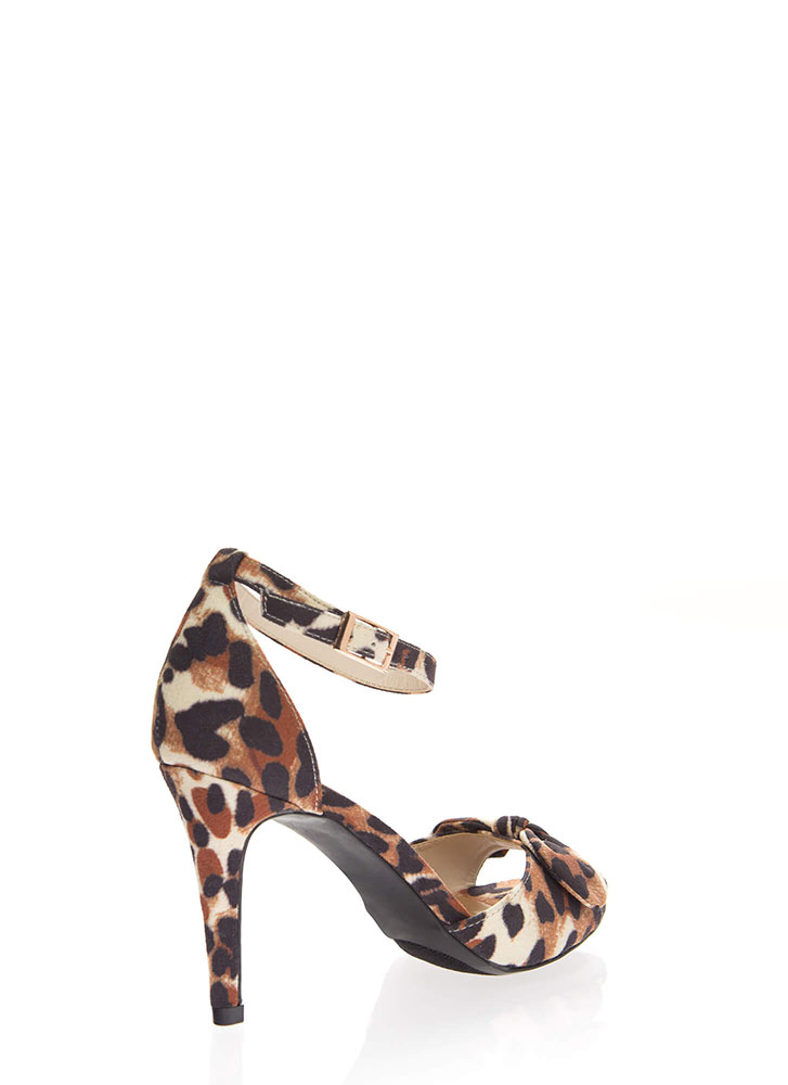 Bow And Behold Ankle Strap Heels LEOPARD