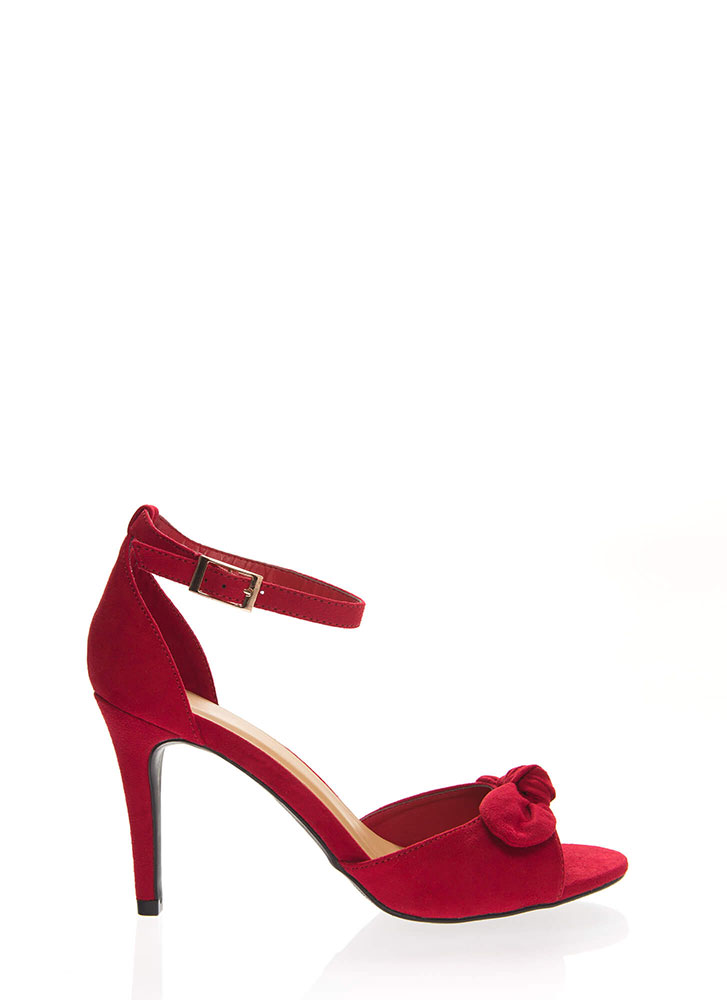 Bow And Behold Ankle Strap Heels RED