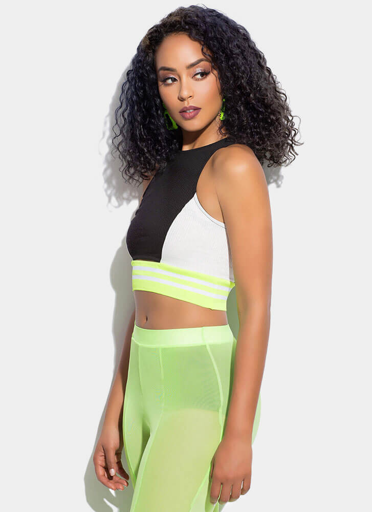 Get Sporty Striped Colorblock Crop Top BLACK