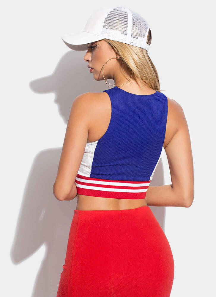 Get Sporty Striped Colorblock Crop Top ROYAL