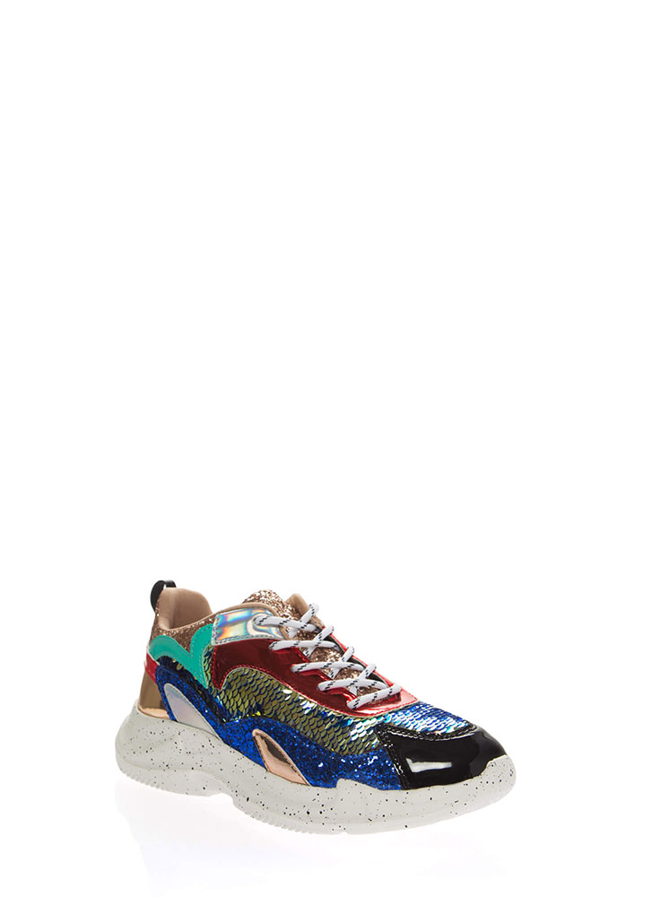 I Want It All Glittery Sequined Sneakers ROSEGOLD