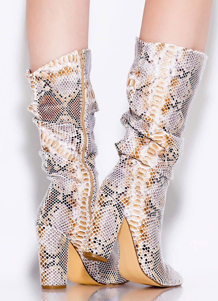 Snake Out Pointy Slouchy Knee-High Boots BEIGE