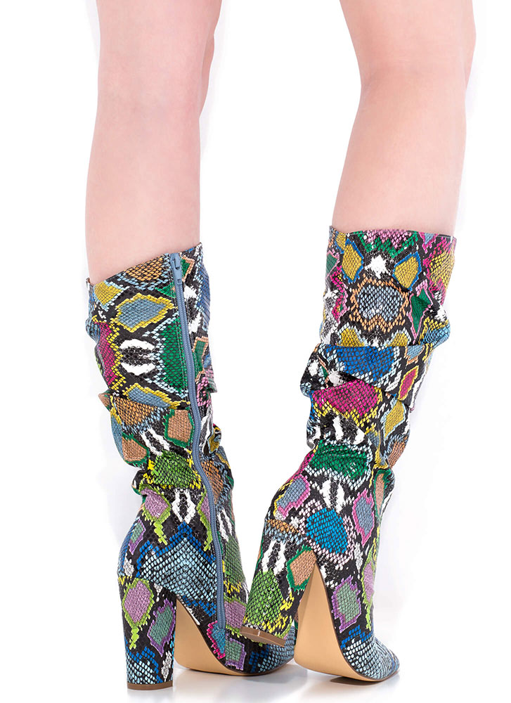 Snake Out Pointy Slouchy Knee-High Boots RAINBOW