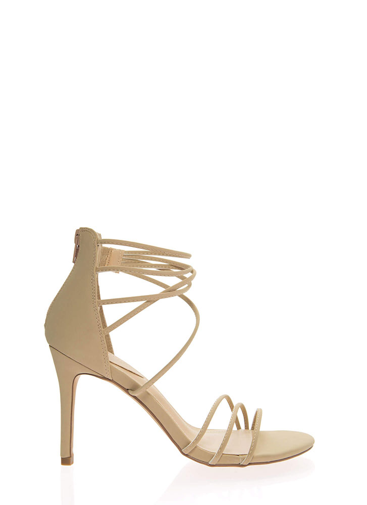 Sexy Strappy And Stiletto Heels NATURAL
