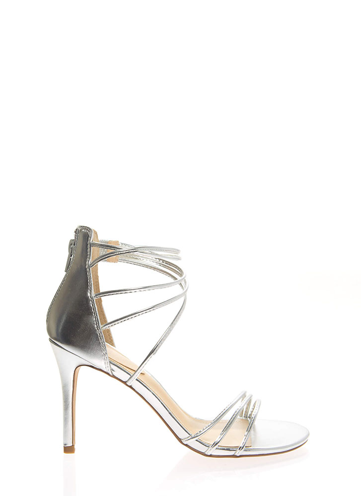 Sexy Strappy And Stiletto Heels SILVER