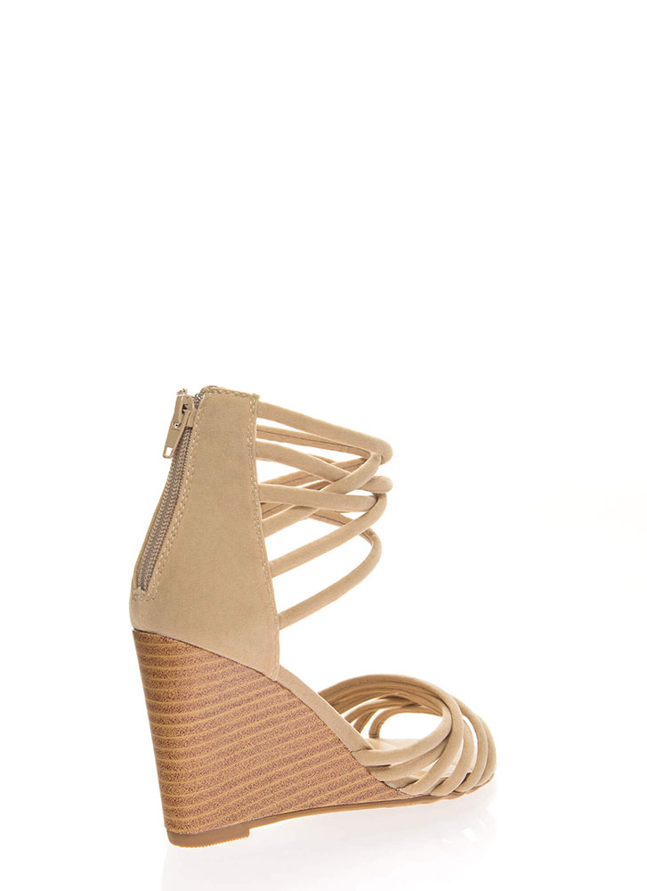 Just Can't Get Enough Strappy Wedges NUDE
