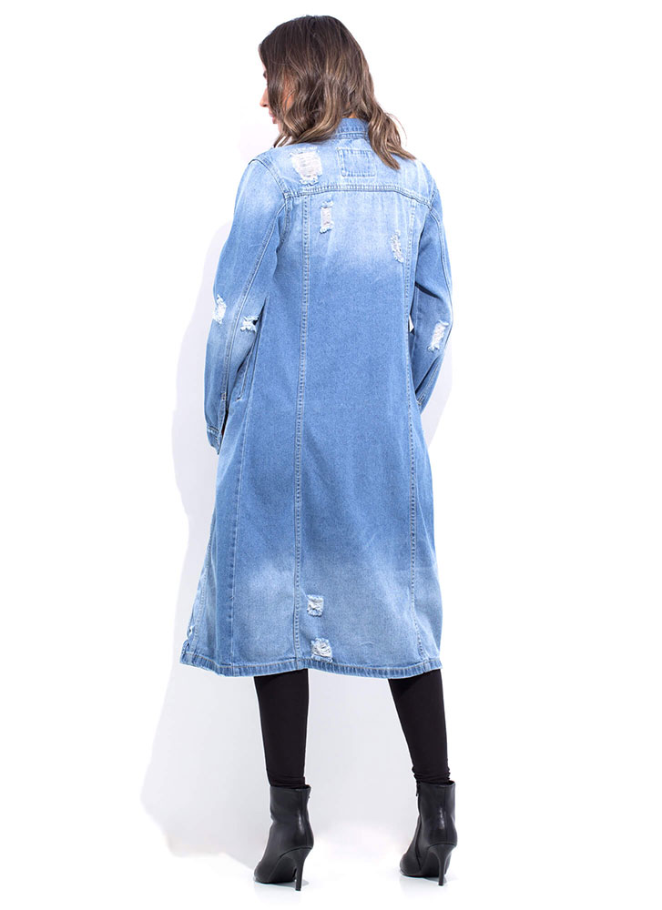 Denim In Distress Longline Jean Jacket BLUE