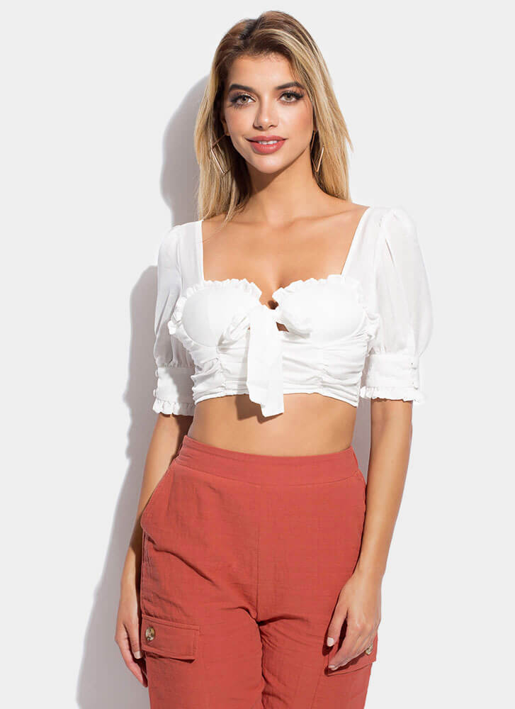 Modern Romance Ruffled Cropped Blouse WHITE (Final Sale)