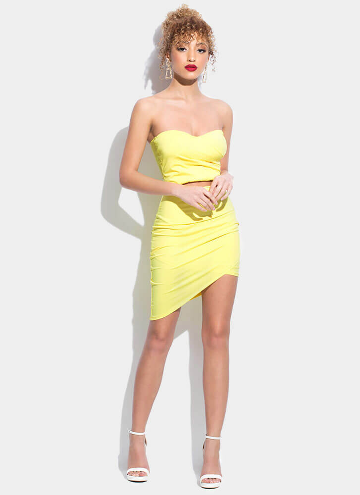 On The Town Strapless Cut-Out Dress YELLOW