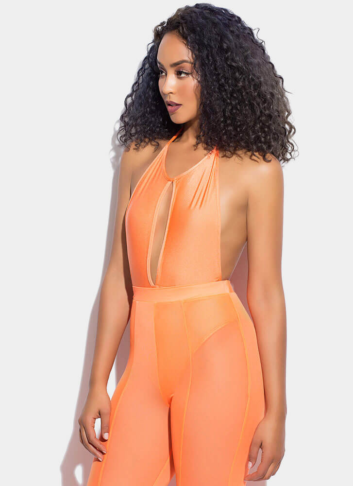 Got It Flaunt It Nylon Halter Bodysuit ORANGE