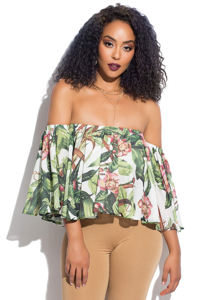 Flare For The Floral Off-Shoulder Top GREENMULTI