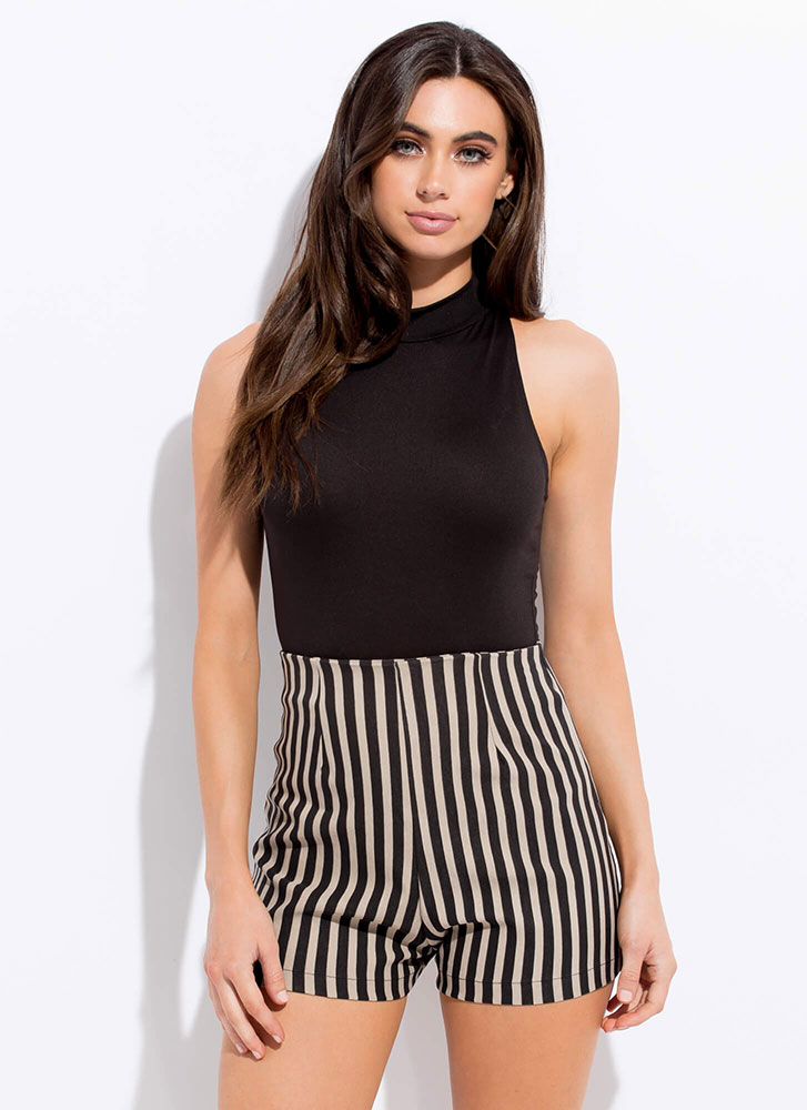 Opening Line High-Waisted Striped Shorts BLACKTAUPE
