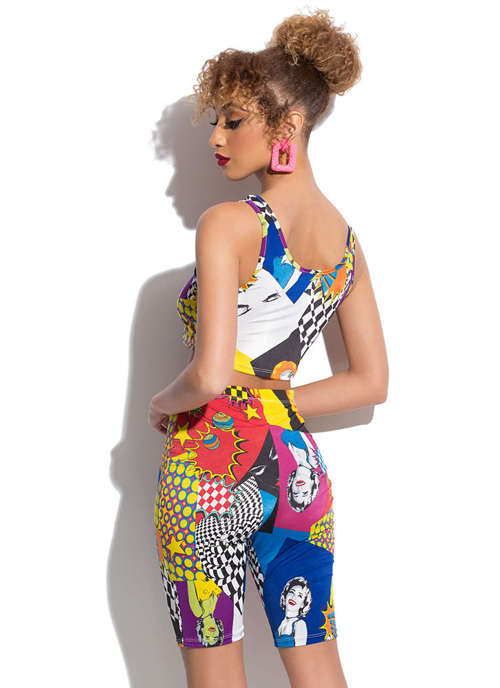 Pop Art Illustrated Top And Shorts Set MULTI (You Saved $24)