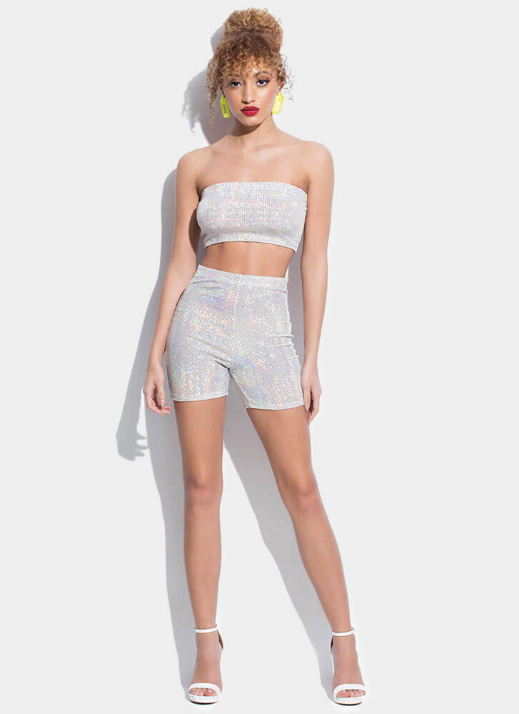 Disco Queen Sparkly Top And Shorts Set IVORY