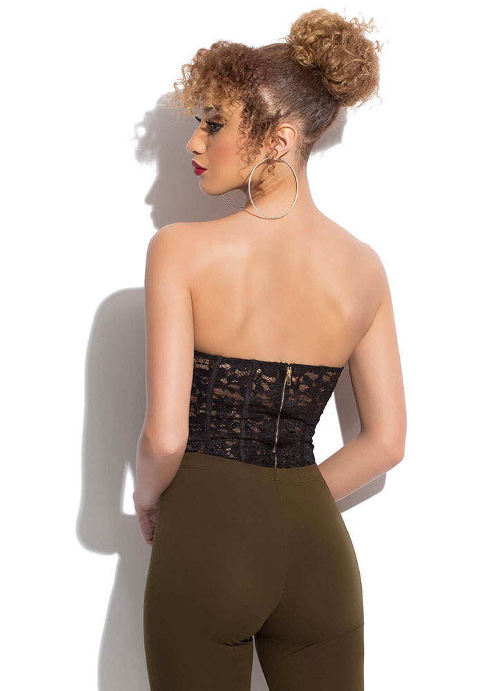 Yes Of Corset Strapless Lace Bodysuit BLACK