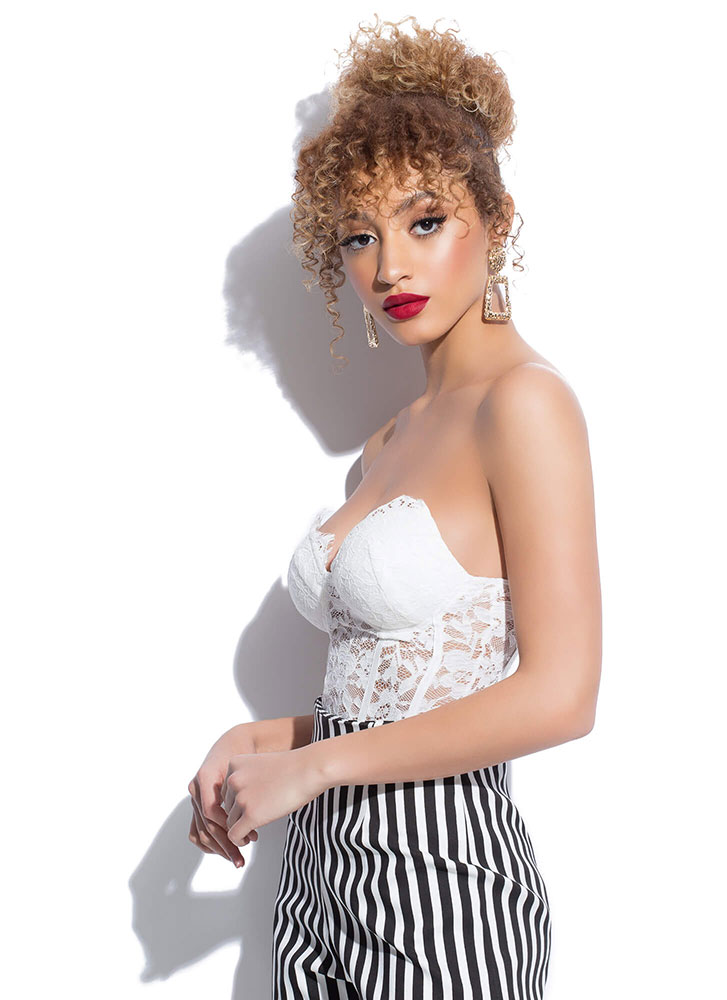 Yes Of Corset Strapless Lace Bodysuit WHITE