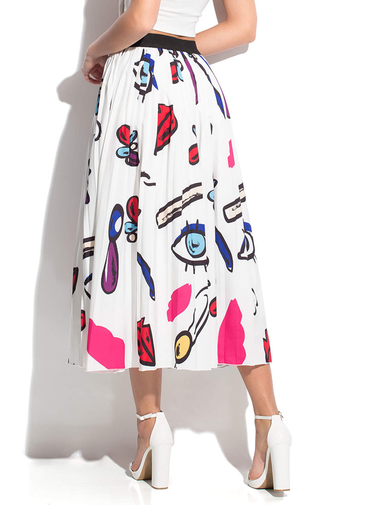 Graphic Girl Pleated Maxi Skirt WHITE