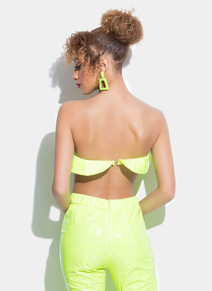 Statement Strapless Faux Patent Crop Top NEONGREEN