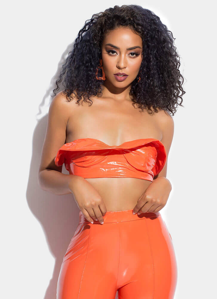 Statement Strapless Faux Patent Crop Top NEONORANGE