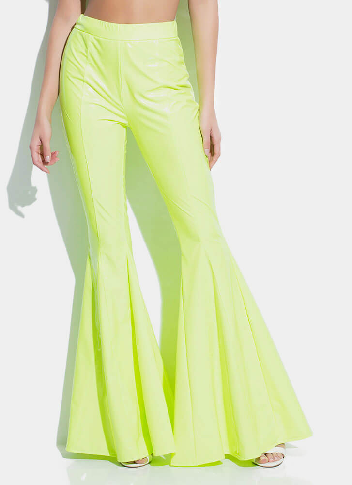 Statement Faux Patent Bell-Bottom Pants NEONGREEN