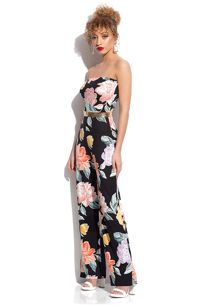 Blooming Flowers Strapless Jumpsuit BLACKMULTI (Final Sale)