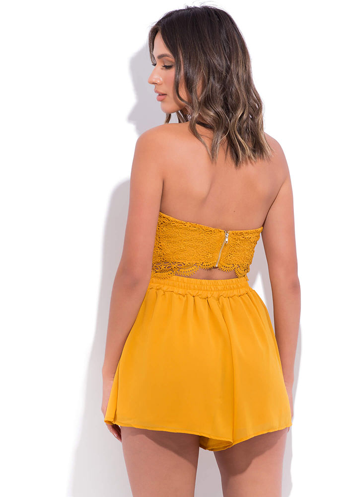 Lovely In Lace Strapless Cut-Out Romper MUSTARD