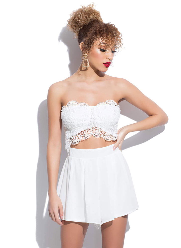 Lovely In Lace Strapless Cut-Out Romper WHITE