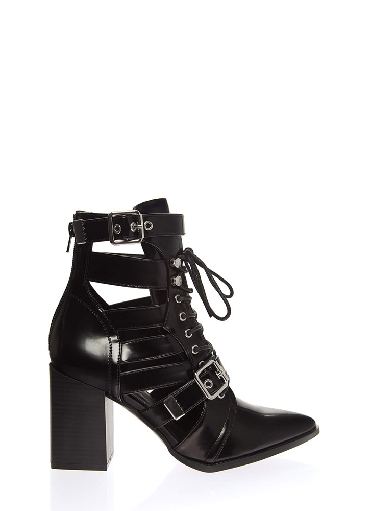 Strap In Lace-Up Faux Leather Booties BLACK
