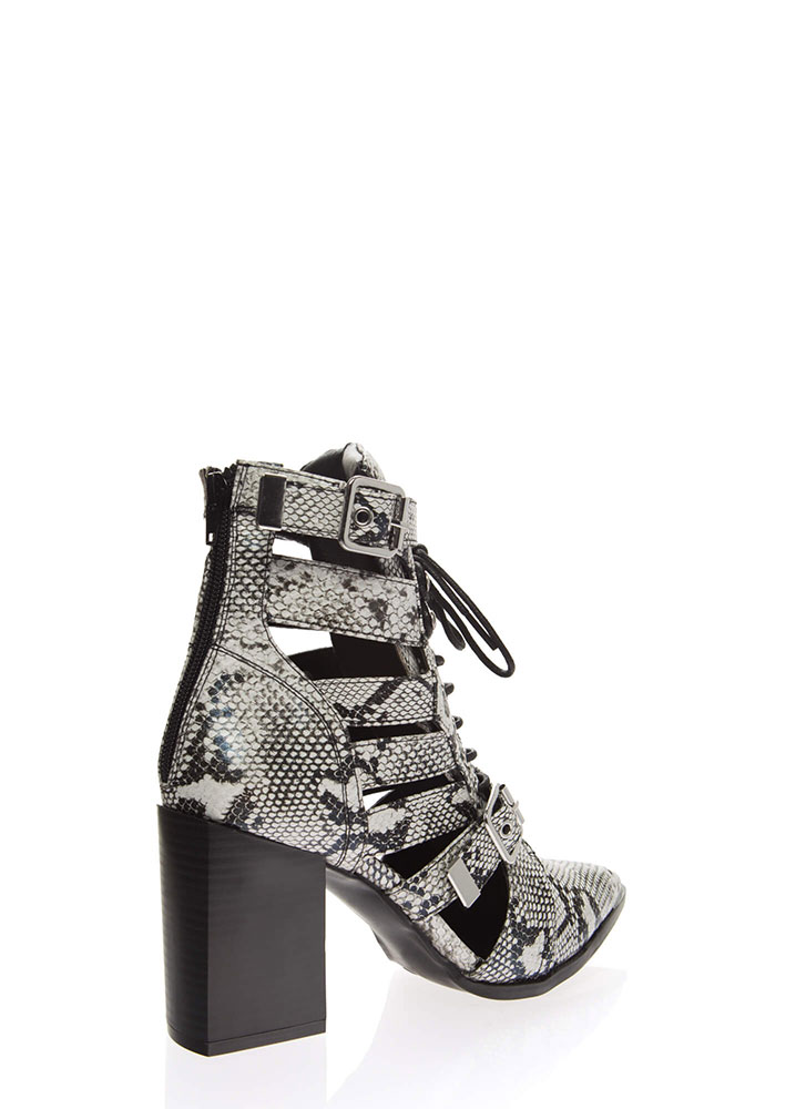 Strap In Lace-Up Faux Snake Booties BLACKWHITE