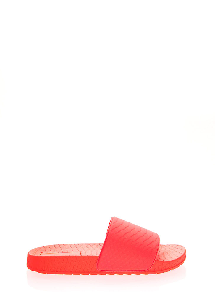 Add Some Texture Scaled Slide Sandals NEONORANGE