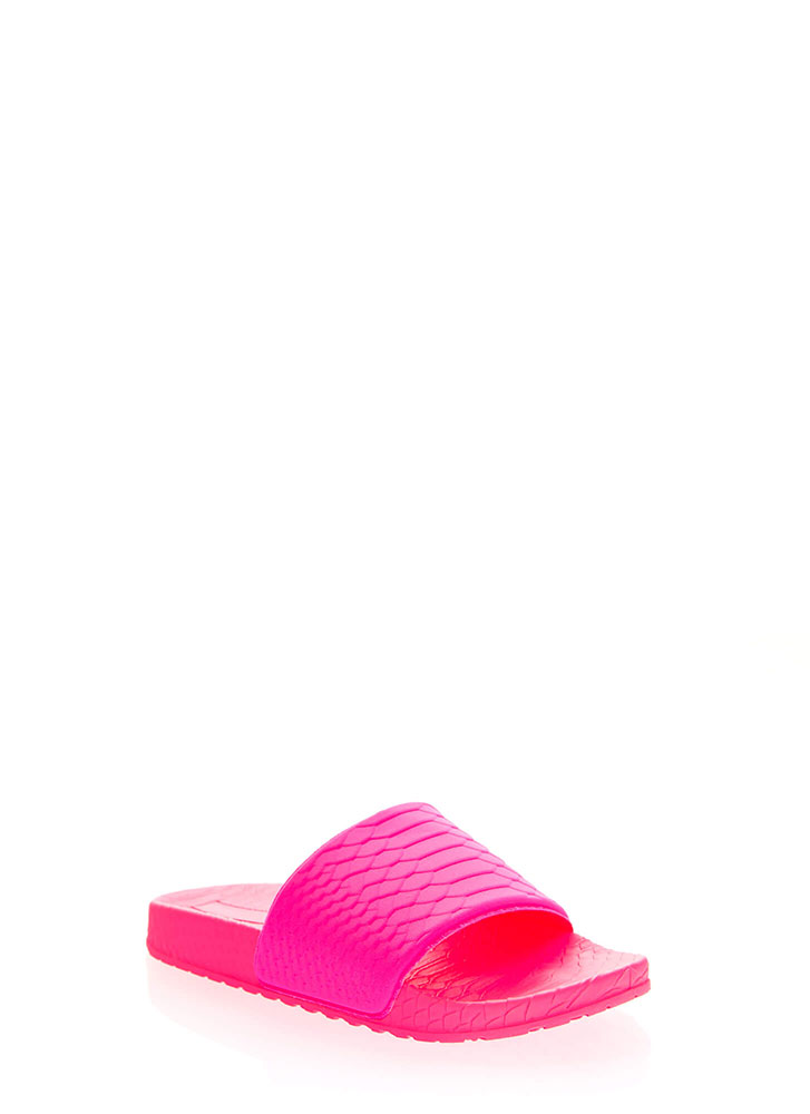 Add Some Texture Scaled Slide Sandals NEONPINK