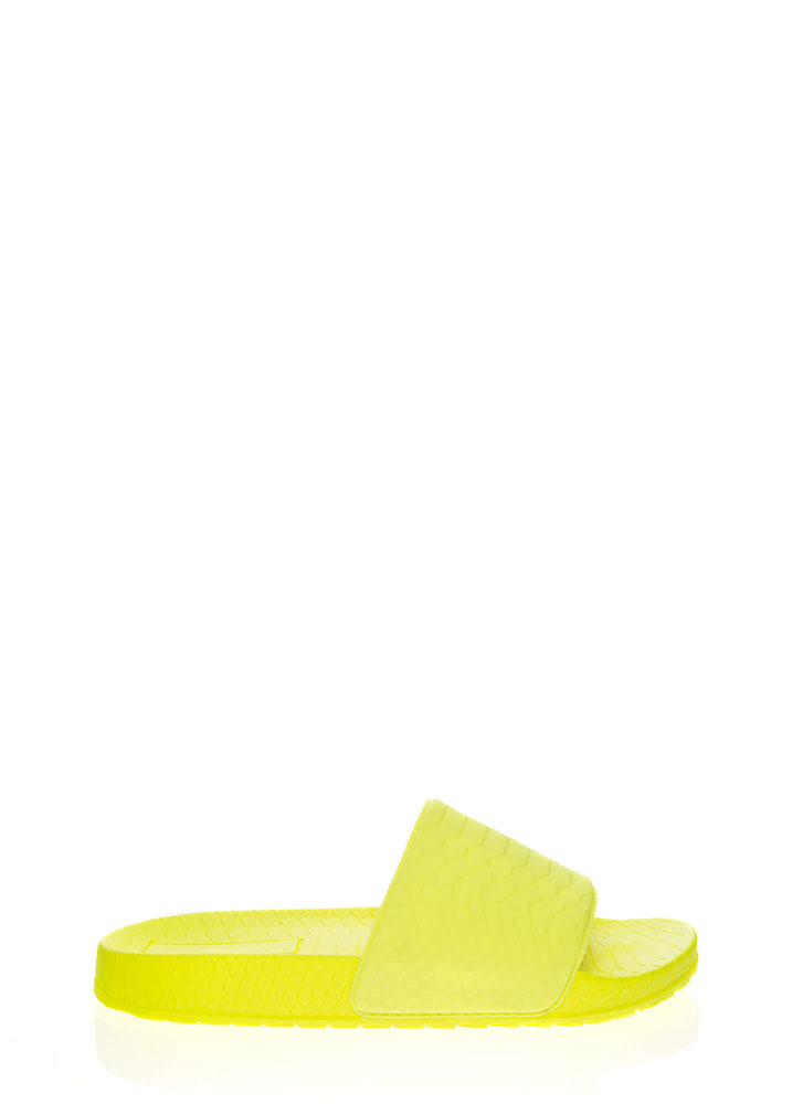 Add Some Texture Scaled Slide Sandals NEONYELLOW