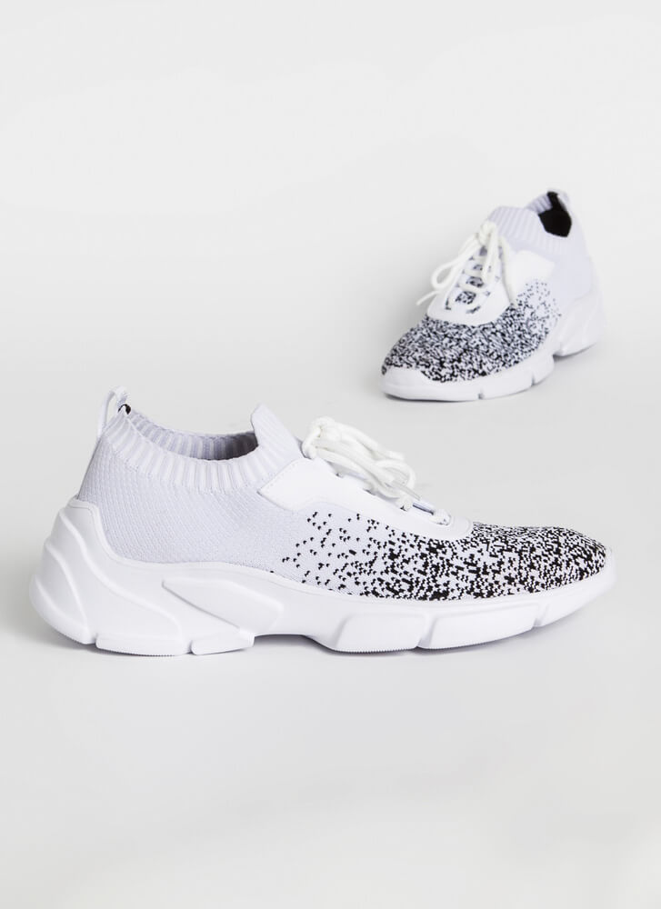 Specks Appeal Sporty Knit Sneakers WHITEBLACK