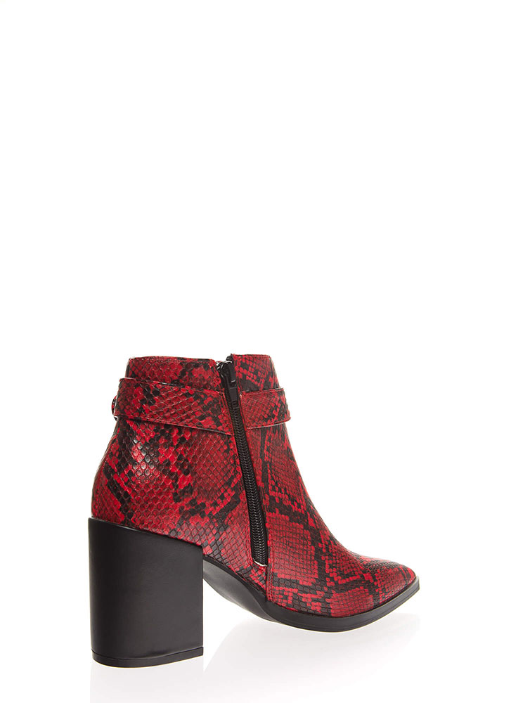 Snake Me Out Pointy Block Heel Booties REDBLACK
