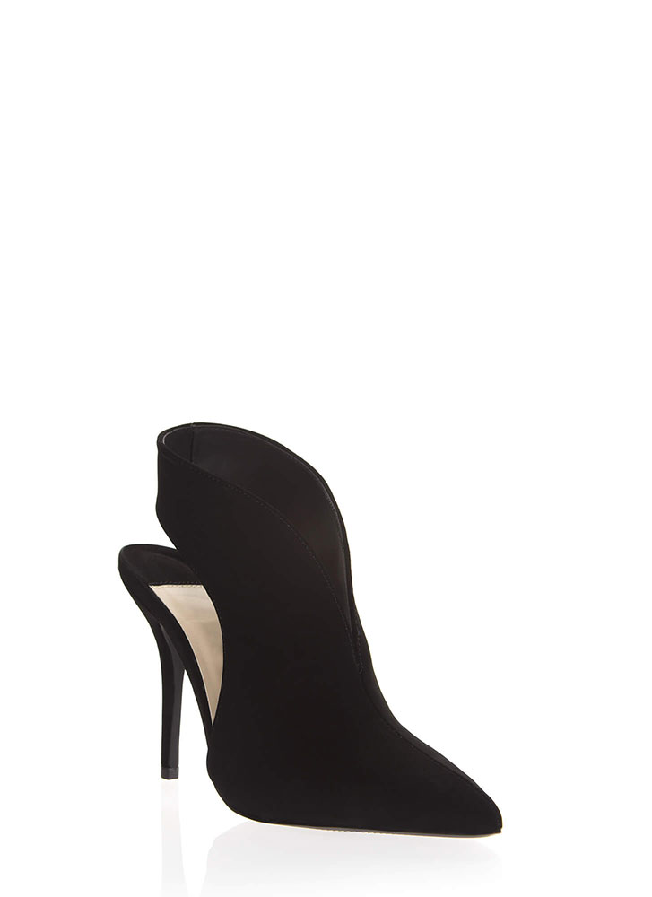 Bootie-ful Girl Pointy Notched Heels BLACK