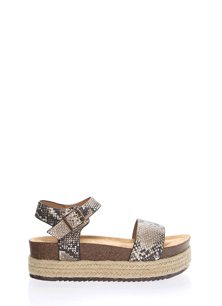 See You In Cabo Platform Snake Sandals BEIGEBROWN