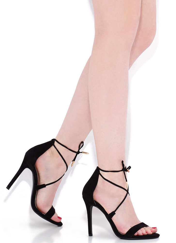 Tied To My X Strappy Lace-Up Heels BLACK