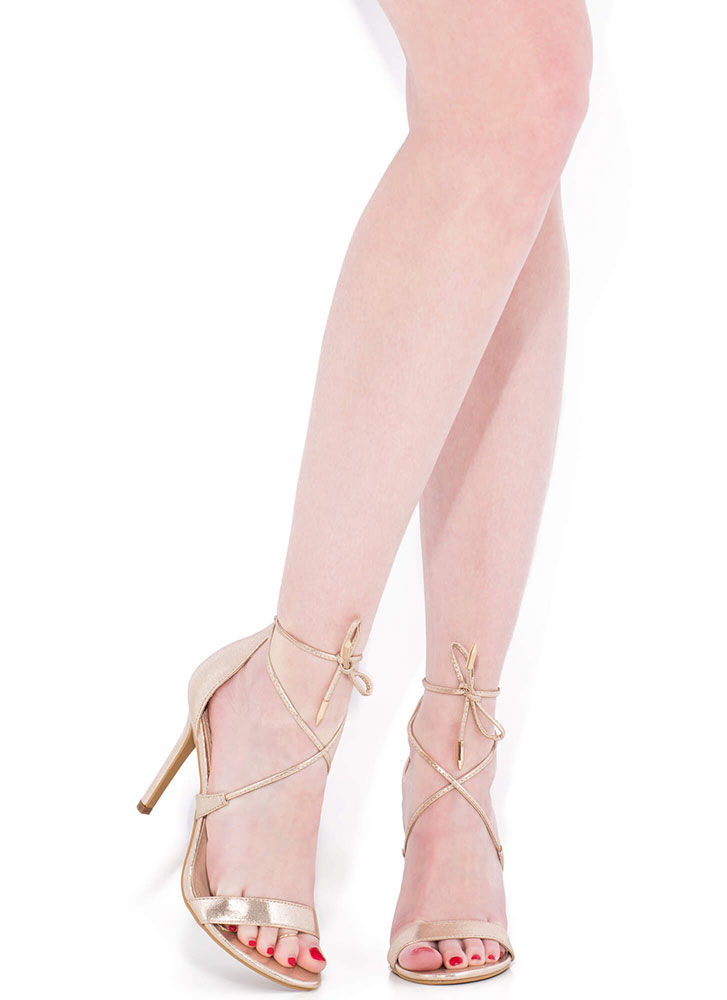 Tied To My X Strappy Lace-Up Heels CHAMPAGNE
