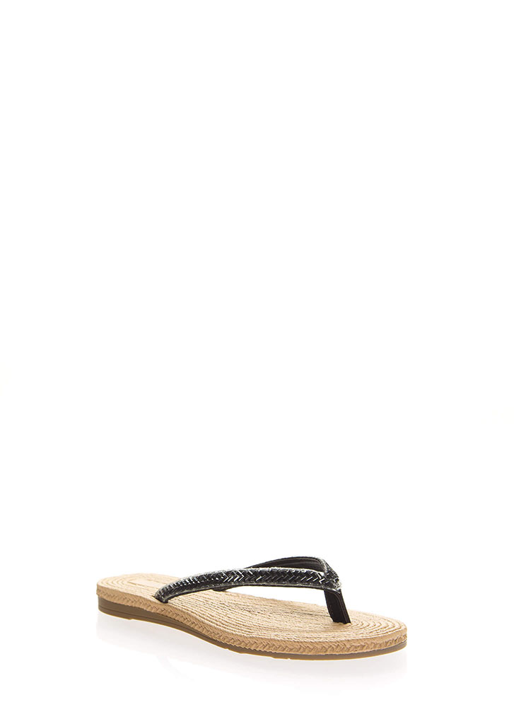 Bead It Faux Braided Thong Sandals BLACK