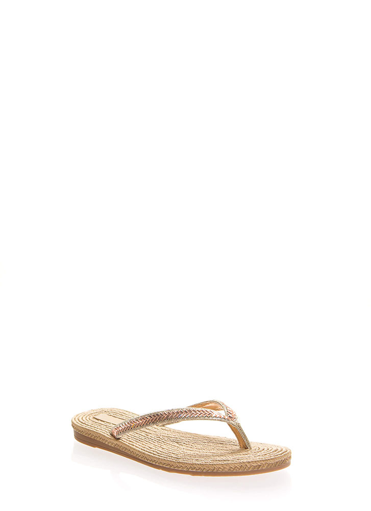 Bead It Faux Braided Thong Sandals ROSEGOLD