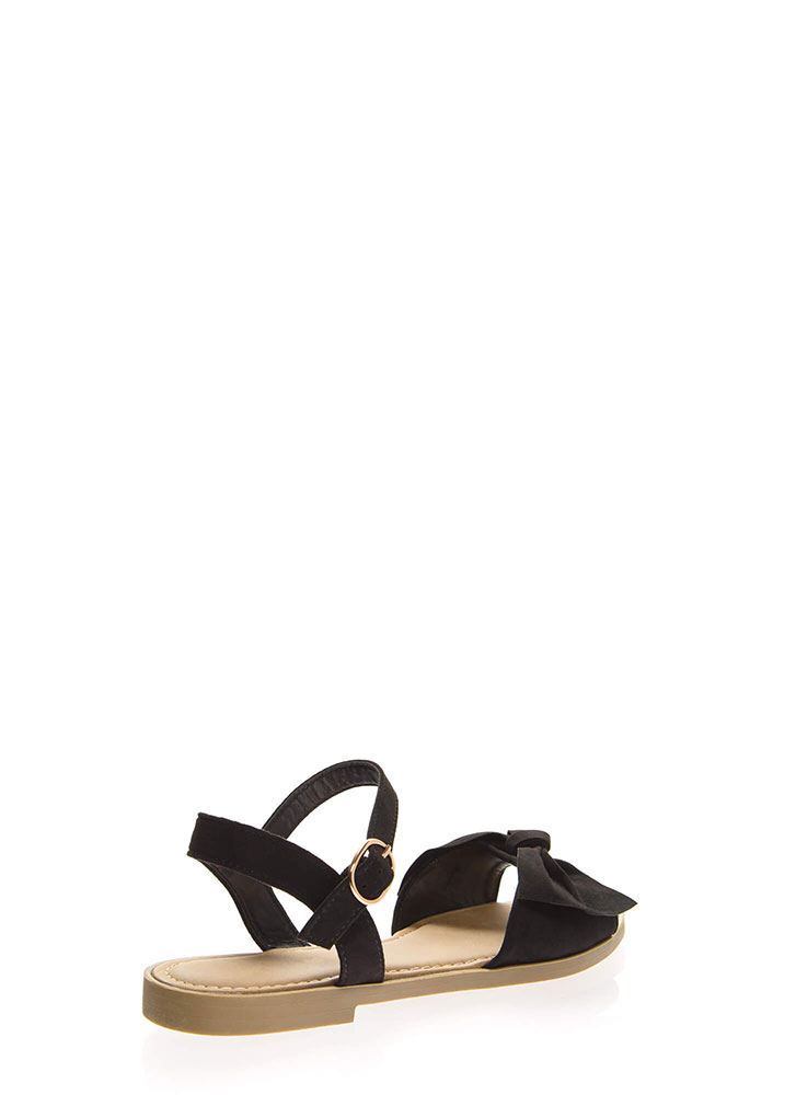 Bow-So-Cute Ankle Strap Sandals BLACK