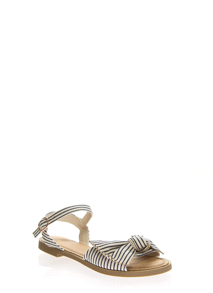 Bow-So-Cute Striped Ankle Strap Sandals BLUE