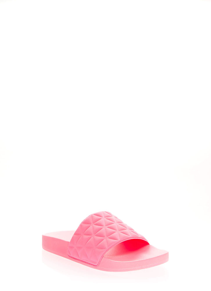 Love Triangles Geometric Slide Sandals NEONPINK